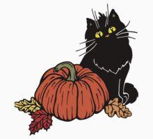 Black cat and Halloween pumpkin  One Piece - Short Sleeve
