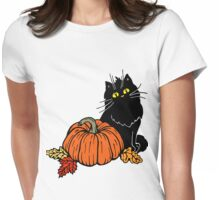 Black cat and Halloween pumpkin  Womens Fitted T-Shirt