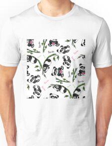 pattern with cute panda.  Unisex T-Shirt
