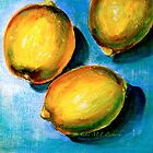 Lemons on Blue Canvas by ©Janis Zroback