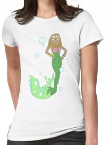 Sloth Mermaid Womens Fitted T-Shirt