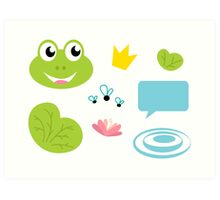 Cute green frog designers edition. CUTE. HAPPY. 100 % ORIGINAL ARTWORK from our atelier Art Print