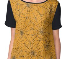 Spider Web Pattern - Black on Orange Chiffon Top