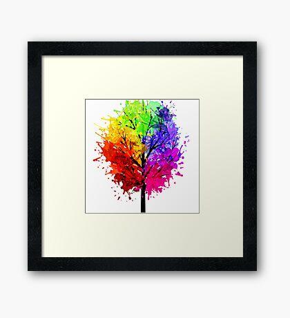 Rainbow Tree With Colour Splats Framed Print