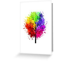 Rainbow Tree With Colour Splats Greeting Card