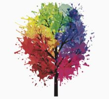 Rainbow Tree With Colour Splats Kids Clothes