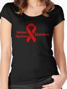 Multiple Myeloma Cancer Awareness Ribbon Women's Fitted Scoop T-Shirt