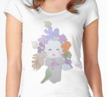 The Sun Flower Child Fairy (Original Art Drawing by Alice Iordache) Women's Fitted Scoop T-Shirt
