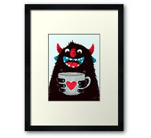Demon with cup Framed Print
