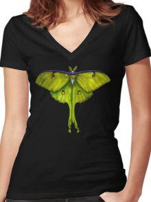 luna moth Women's Fitted V-Neck T-Shirt