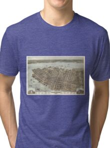 Vintage Pictorial Map of Charleston (1872) Tri-blend T-Shirt