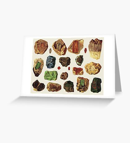 Vintage Geology Gemstone Crystal Minerals Greeting Card