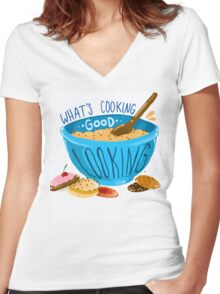 What's cooking, good looking?  Women's Fitted V-Neck T-Shirt