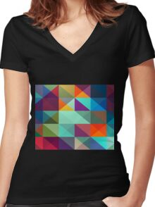 Square and Triangle Pattern Women's Fitted V-Neck T-Shirt