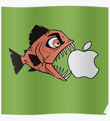 Piranha loves Apple Poster