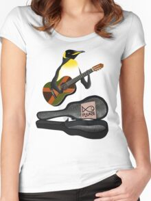 Penguin Busking Women's Fitted Scoop T-Shirt