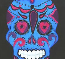 Sugar Skull- Pink and Blue by Annika Thurgood