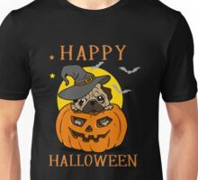 Happy Pumpkin Halloween T-Shirt, Great Pug Dog Lovers Gift Unisex T-Shirt