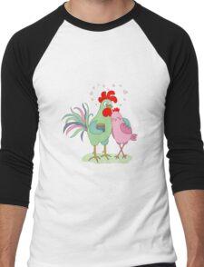 Cute cartoon cock and hen Men's Baseball ¾ T-Shirt