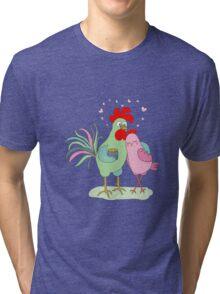 Cute cartoon cock and hen Tri-blend T-Shirt
