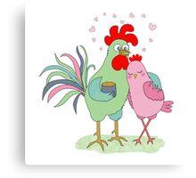 Cute cartoon cock and hen Canvas Print