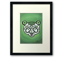 Sugar Skull- Green Panda Framed Print