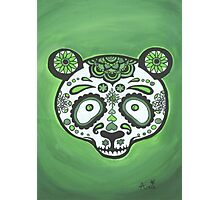 Sugar Skull- Green Panda Photographic Print