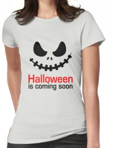Halloween Is Coming T-Shirt, Funny Pumpkin Ghost Shirt Gift Womens Fitted T-Shirt