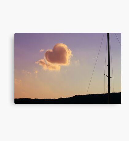 cloudy sky heart Canvas Print