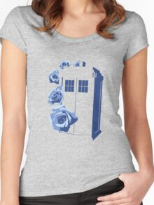 A Rose for the Doctor (blue) Women's Fitted Scoop T-Shirt