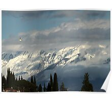 mountains with snow in winter Poster