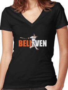believen Women's Fitted V-Neck T-Shirt