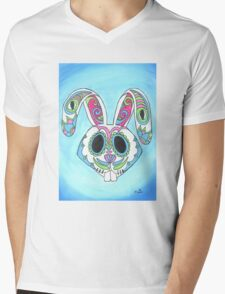 Skull Candy Easter Bunny Sugar Skull Mens V-Neck T-Shirt