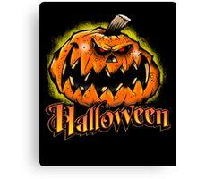 Scary Jack-'o-Lantern Halloween Canvas Print