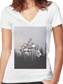 Lost in this World  Women's Fitted V-Neck T-Shirt