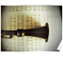 Vintage Silver Clarinet Poster