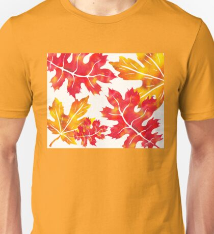 Fall Leaves Watercolor Silhouette II Unisex T-Shirt