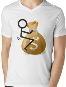 Fuck The Money Cool Funny Icon  Mens V-Neck T-Shirt