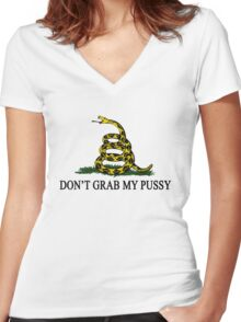 DGMP - DON'T GRAB MY PUSSY Yellow Women's Fitted V-Neck T-Shirt