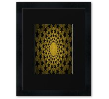 Stars Edgy Pattern Faded Gold Framed Print