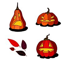 Cartoon Jack-o'-lanterns Photographic Print