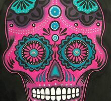 Sugar Skull-Pink Candy by Annika Thurgood
