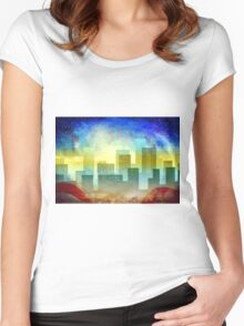 Minimalist, abstract colorful Urban design Women's Fitted Scoop T-Shirt