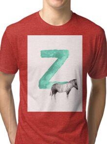 Zebra Alphabet Z Letter Painting Watercolor Drawing Poster Tri-blend T-Shirt
