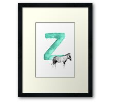 Zebra Alphabet Z Letter Painting Watercolor Drawing Poster Framed Print