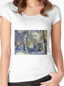 Outhouse in Snow Women's Fitted Scoop T-Shirt