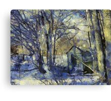 Outhouse in Snow Canvas Print