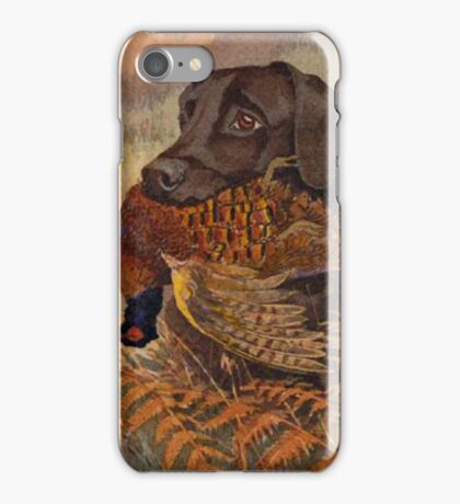 Vintage Chocolate Lab Hunting  iPhone Case/Skin