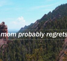 """""""your mom probably regrets you""""  Sticker"""