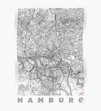 Hamburg Map Line Poster